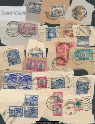 Assorted Stamps & Post Marks of Johannesburg, South Africa Stamps on Piece