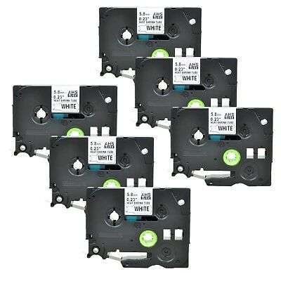 """6PK Heat Shrink Cartridge Label Black on White HSe211 For Brother P-Touch 1/4"""""""