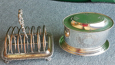 Antique Plated Toast Rack And Lidded Humidifier. 2 Intersting Pieces.