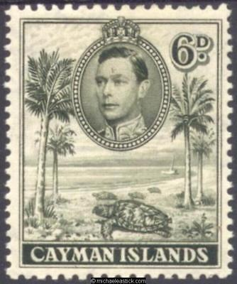 1938 Cayman islands 6d Olive-Green, Perf 11½x13, SG 122, MH