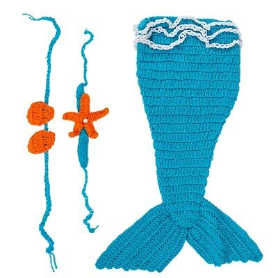 Baby Crochet Knitted Photo Photography Prop Mermaid Tail Romper Outfit I8Q5