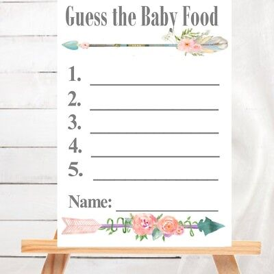BABY SHOWER  GAME :  Baby Food Guessing Game - BOHO Tribal Floral Collection