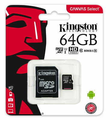 Kingston 64gb Micro Sd Carte Mémoire pour Go Pro Hero+ LCD Caméra D'Action