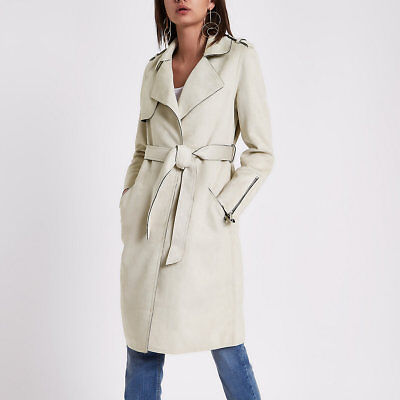 River Island Stone Beige Faux Suede Belted Trench Coat UK 10 £75