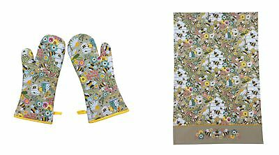 Pair Of Bumble Bees Daisies Flowers Yellow Cotton Single Oven Gloves & Tea Towel