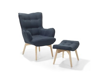 Mid-Century Modern Upholstered Armchair with Ottoman Set Dark Blue Vejle