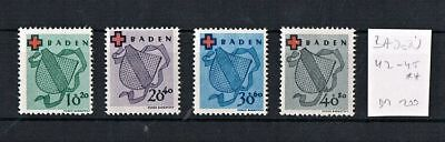 Germany French-Baden Stamp Set 1949 Red Cross 42A-45A MNH