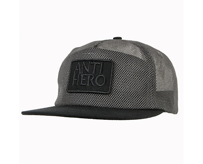 ba06e918706 ANTI HERO Skateboards Reserve Patch Charcoal   Black All Mesh Snapback Hat