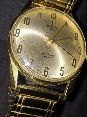 e4f52b553fc Vintage 17 Je Rotary Men s Gold Plated Dress Watch. Manual Swiss Spares    Repair