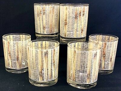 """Vintage Bamboo Tumbler Highball Glass Set of 6 Glasses Mid Century Style 4"""" Tall"""