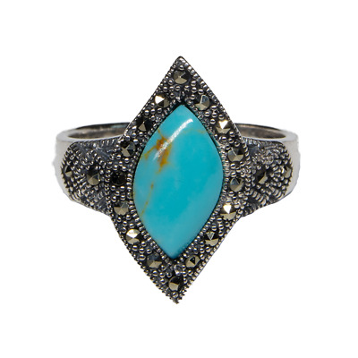 Onyx Natural Organic Ring 925 silver Size M-R Ladies feeanddave