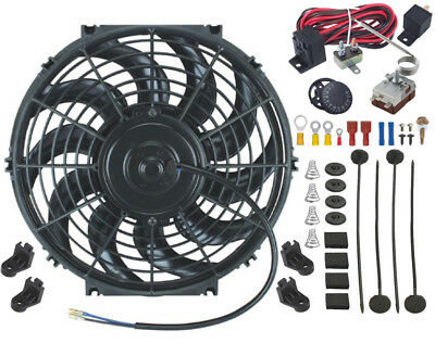 12V Electric Radiator Cooling Fan & Adjustable Thermostat Controller Switch Kit