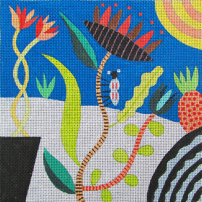 HP Needlepoint 18ct MAGGIE Modern Flowers with Bug-ML128