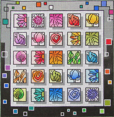 HP Needlepoint 18ct BY MINDY Geometric Flower Squares-ML262