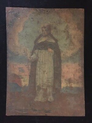 "Antique 19th Century Spanish Colonial Tin Retablo St. Francis Xavier 14"" x 10"""
