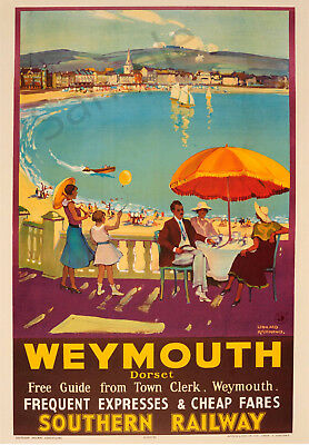 VINTAGE Railway POSTER Weymouth Retro Seaside Holiday Travel Ad Print A3 A4