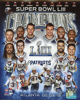 New England Patriots 2018-2019 Super Bowl 53 Champions 8X10 Team Composite Photo