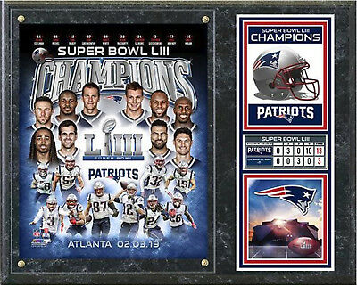 "New England Patriots 2018-2019 Super Bowl 53 Champions 12"" X 15"" Wood Plaque"