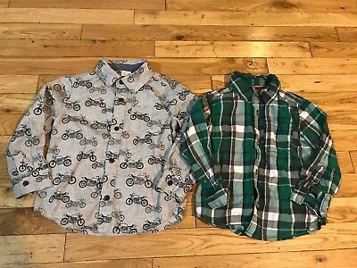 Lot 2 Toddler Button Up Shirts 3T Motorcycle Gray Green Plaid Carter's Gymboree