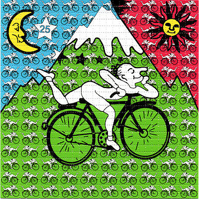 Small Bicycle Day Albert Hofmann BLOTTER ART psychedelic perforated LSD acid art