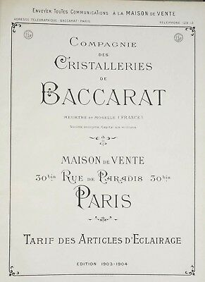 Rare Catalogue PDF Cristal BACCARAT 1903 Eclairage Flambeaux lustres bougeoirs