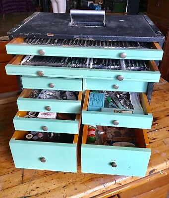 Antique 12 Drawer Dental Apothecary Chest, Travelling Chest, Full Of Tools