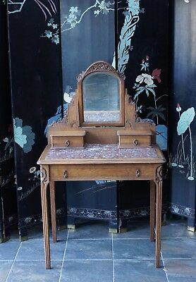 Antique French Dressing Table Oak Marble Topped - Delivery Available