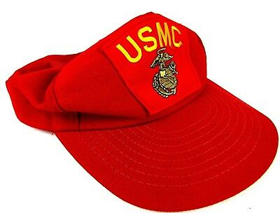 909f799cb4f Vintage Red Mesh USMC Cap Hat Embroidered Patch Trucker Snapback Eagle USA
