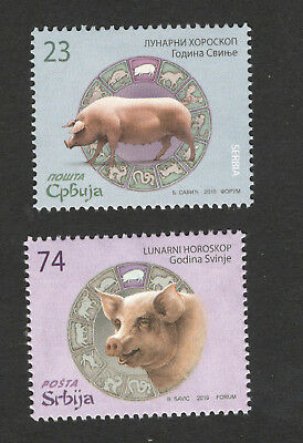 Serbia-Mnh Set-Lunar Horoscope-Year Of The Pig - 2019.