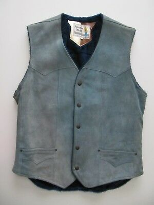 Vtg Mens Pioneer Wear Blue Suede Sherpa Lined Leather Cowboy Western Vest 40 USA