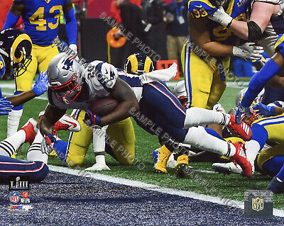 Sony Michel TD New England Patriots 2018-2019 Super Bowl 53 Champs 8X10 Photo