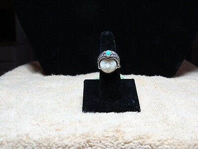 Bali Goddess Collection Carved Bone A.S.B. Turquoise 925 SS Ring Size 8