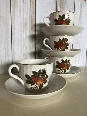 Vintage set of 4 Enoch Wedgwood English Harvest Cups and Saucers
