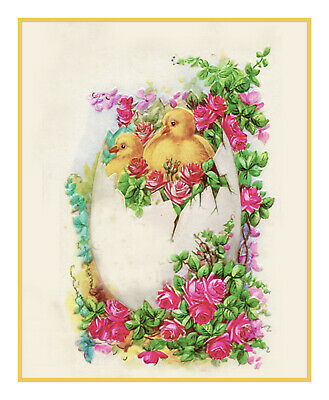 Vintage Easter Baby Chicks in Egg Flowers Roses Counted Cross Stitch Pattern