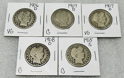1907-1915 Barber Silver Half Dollar - Collector Lot of 5 & All Different