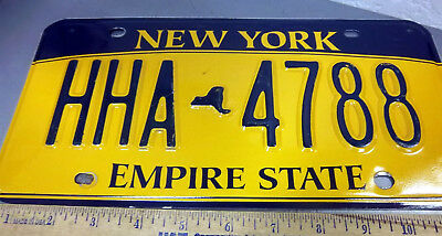 New York metal License plate , 2014 expired, Empire State bk & gold, HHA 4788