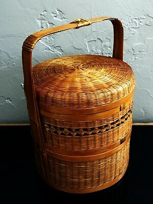 Vtg Chinese Shanghai Peoples Republic Woven Wicker Rattan Stacked Wedding Basket
