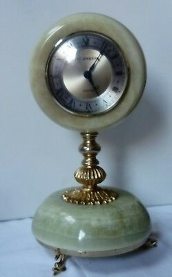 Vintage 1950s Green Onyx Mantel Clock, Dolphin Feet Battery Operated, Working