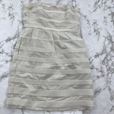 4498beb139f J Crew Cotton Cream  Off White Striped Textured Strapless Dress Party 4 B1