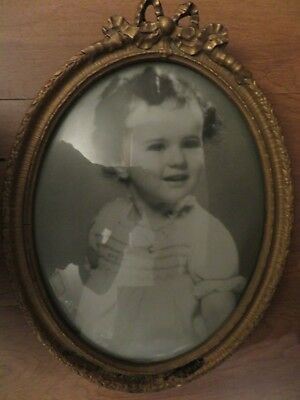 Early 1900's Child Antique Bubble Glass Portrait in Ornate Frame