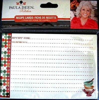 "NEW SEALED PKG of 20 ~ PAULA DEEN ""KITCHEN"" 4"" X  6"" Lined Blank Recipe Cards"