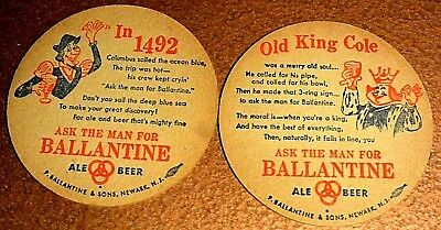 2 Vintage Beer Brewery Coasters - Ballantine Ale - In 1492 ... and Old King Cole