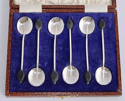 Boxed Set of 6 Vintage 1925 Sterling Silver Coffee Bean Spoons/Demitasse