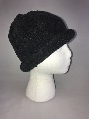 25cc2a99340 AUGUST HAT COMPANY Women s Warm Black Chenille Hat Cap One Size New ...
