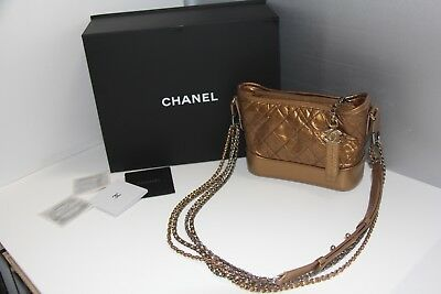 af6a3bc82f284a Chanel Quilted Aged Calfskin Gabrielle Hobo Bronze Gold Metal Bag Small