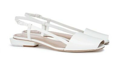 0326fb553dfee4 Tory Burch Pietra Leather Runway Flat Sandal sz EU 38.5   US 8.5 in ivory