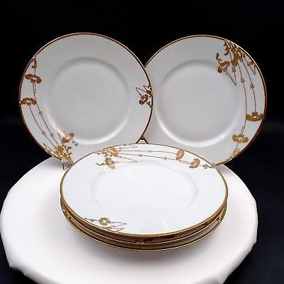 """Hutschenreuther Selb 5 Piece Gold Floral And Trim 9 1/8"""" Dinner Plates"""
