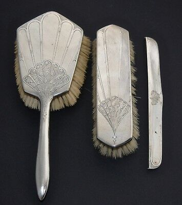 Art Deco 3 Piece Chinese Export Sterling Silver Vanity Set - Brushes & Comb