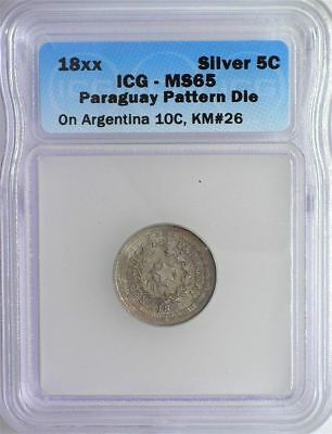 RARE PARAGUAY 18xx 5 CENTS ON ARGENTINA 10C -PATTERN DIE- ICG MS65