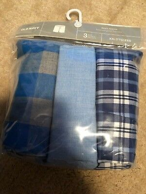 New 3 Pack Old Navy Mens Boxers Cotton Plaid Checker And Solid Blue Size Xl Xxl